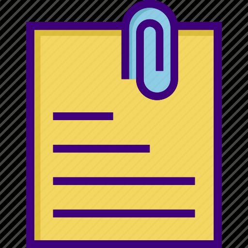 attach, attachment, business, clip, file, note, paper icon
