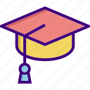 academia, cap, diploma, education, education cap, graduate, graduation icon