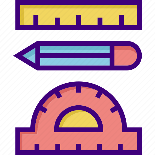 education, equipment, learning, pencil, ruler, school equipment, tool icon