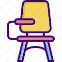 armchair, chair, classroom chair, desk, seat, student desk, table icon