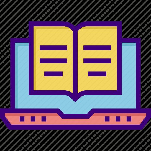 book, education, laptop, online education, reading online, scholarship, study icon