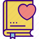 book, bookmark, favorite book, favorite lesson, heart, like, valentines icon
