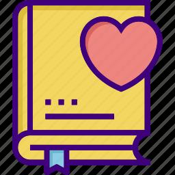 book, bookmark, favorite book, favorite lesson, heart, like, valentines icon