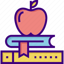 apple, book, fruit, knowledge, power of knowledge, school, study icon