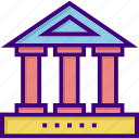 bank, building, campus, college, history, university, university campus icon