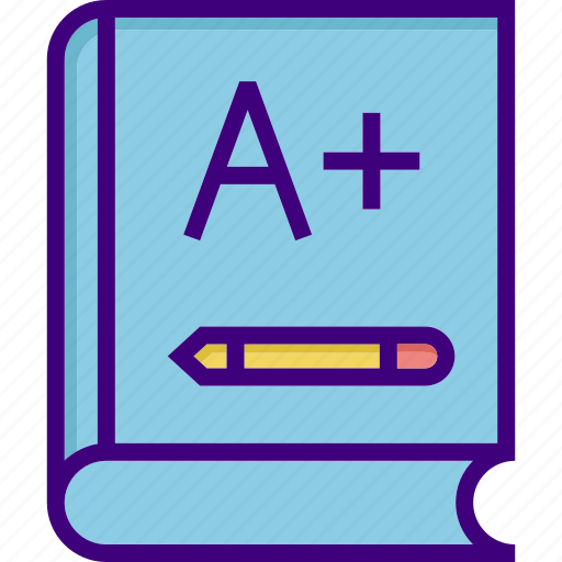 a+, book, education, grade, learning, library, read icon