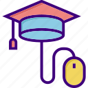 cap, education, graduation, online, online education, online graduation, scholarship icon
