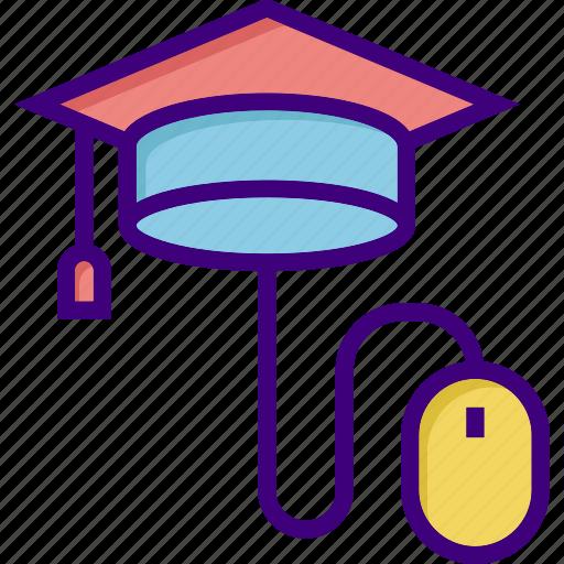 cap, education, graduation, online, online education, online graduation, scholarship icon