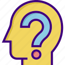 brainstorm, business, head, help, information, mind, question icon