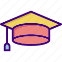 academia, cap, degree, diploma, education, graduate, hat icon