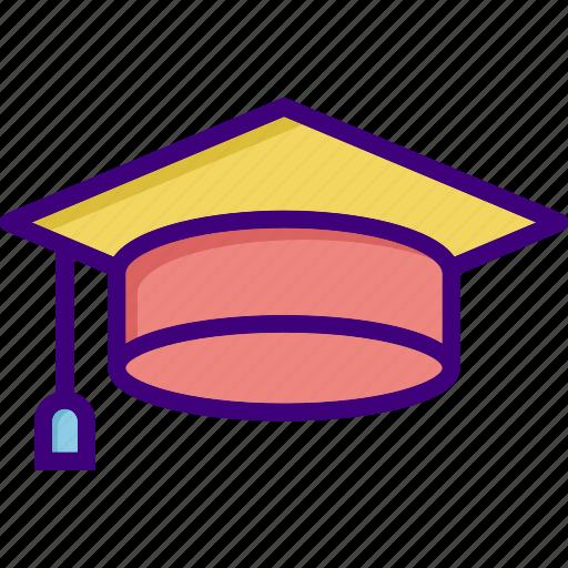 academia, cap, degree, diploma, education, graduate, hat icon