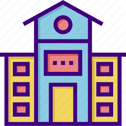 architecture, building, campus, front, school, school building, school front icon
