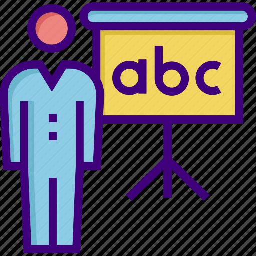 education, school, study, teach, teacher, teaching, whiteboard icon