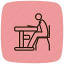 configuration, desk, desktop, preferences, setting, sitting, sitting on desk icon