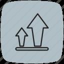 arrows, database, server, sign, storage, upload, upload sign icon