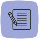 edit, extension, file, notepad, paper, pencil, writing icon