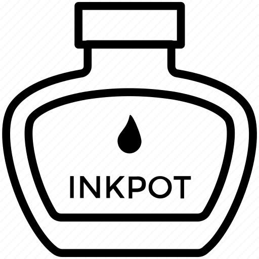 ink, inkpot, leaf icon icon