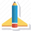 education, launch, pen, pencil, rocket icon