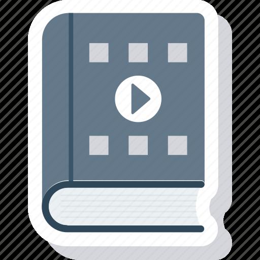 book, content, movie, play, video icon icon