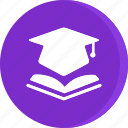 book, education, graduation, hat, mortarboard, school, study icon