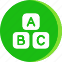 a b c, cube, education, letter, school, science, study icon