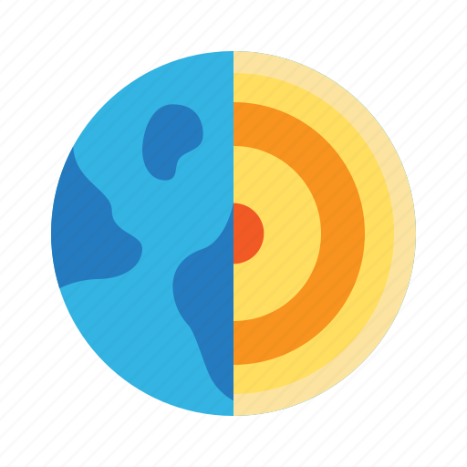 Earth, geology, geoscience, inner core, layer, school, subject icon - Download on Iconfinder