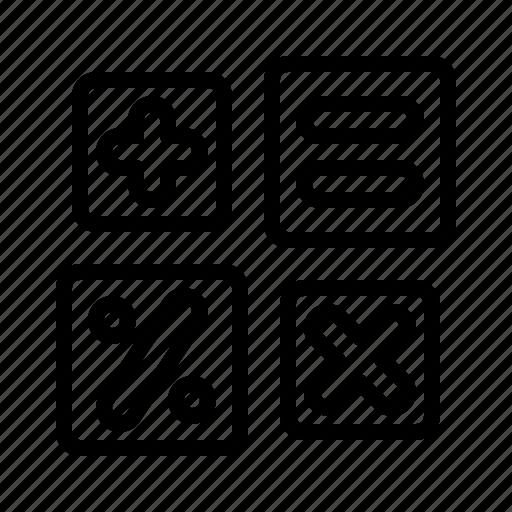 math, operations, percent, plus, school, subject, times icon