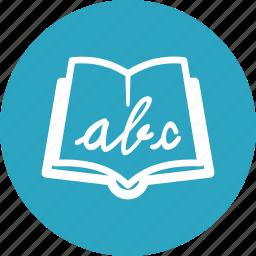 alphabet book, school book, studying icon