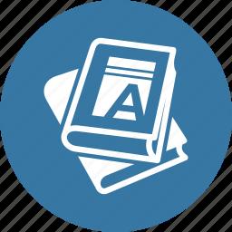 education, reading, school books icon