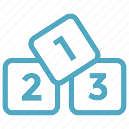 blocks, cubes, digits, numbers, preschool, rankings icon icon