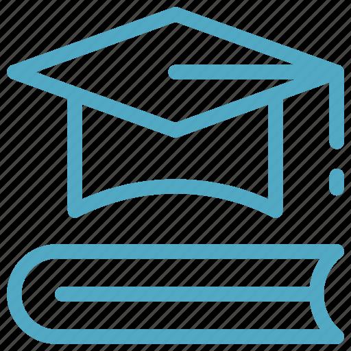 book, graduate cap, mortarboard, mortarboard and book, mortarboard on book icon icon
