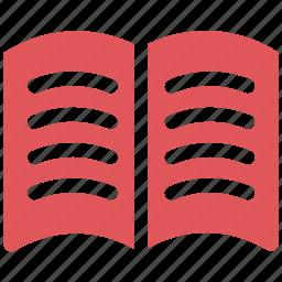 book, bookmark, education, open book, read, reading, study icon icon