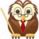 education, knowledge, owl, professor, teacher icon