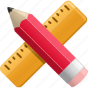 office supplies, pencil, ruler, school supplies, stationery, supplies icon