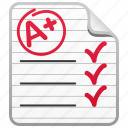 a+, education, exam, grade, test, test paper icon