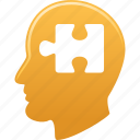 education, head, human, knowledge, man, puzzle, thinking icon