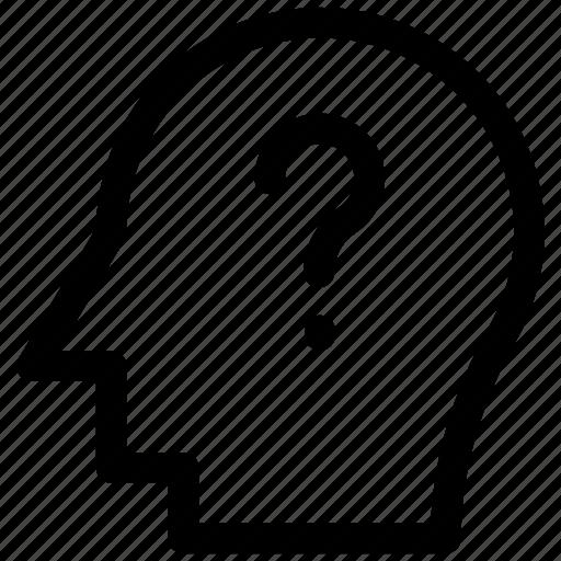 brain, frustration, question mark, think icon icon