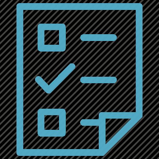 check mark, exam, paper, pen, quiz, solve, test icon icon
