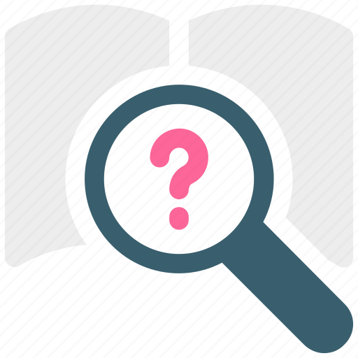 book, book with magnifier, online book, online book searching, question mark, search book icon icon