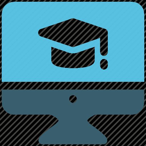 graduate, graduate cap, lcd, led, online study icon icon