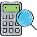 calculator, education, math, numbers, research, search icon