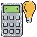 calculator, education, ideas, light bulb, math, numbers icon