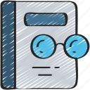 book, education, glasses, learning, lesson, research icon