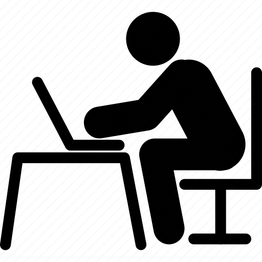 laptop, laptop operating, laptop using, man using laptop, notebook, pc, personal computer icon