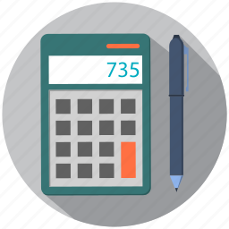 calculator, device, education, notes, number, pencil icon