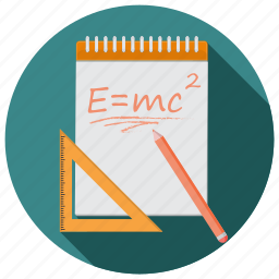 back to school, education, formula, knowledge, notes, science icon