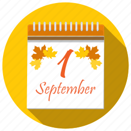 autumn, back to school, calendar, first, leaves, september icon