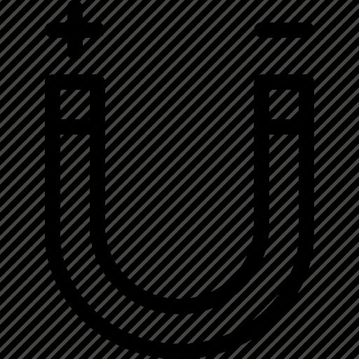 charge, education, horseshoe, magnet, negative, physics, positive icon