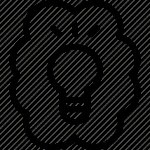 brain, bulb, discover, idea, invention, knowledge, think icon
