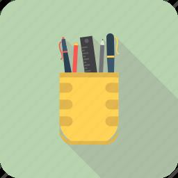 pen pot, pencil, pencil box, pencil holder icon